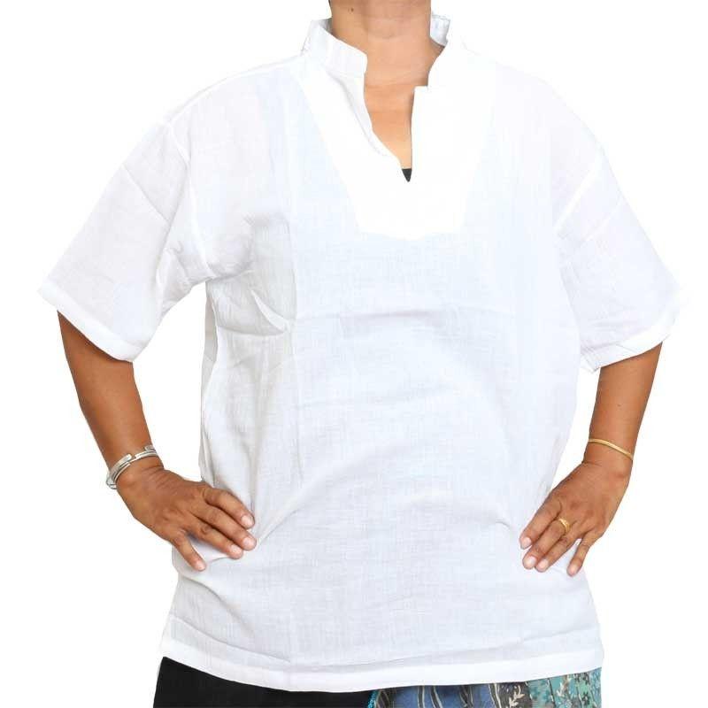 Razia Fashion - leichtes Baumwollhemd weiß Größe M