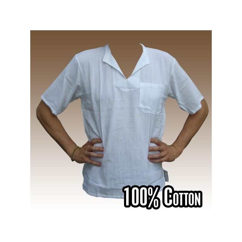 Razia Fashion - light Thai cotton shirt white size L