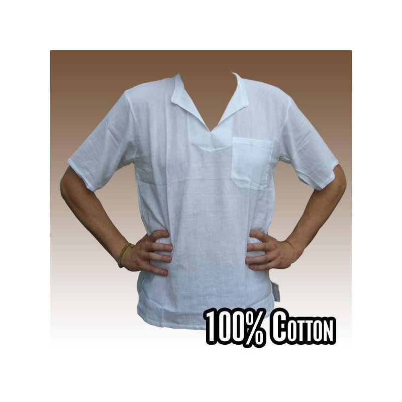 Razia Moda - Fácil camisa de algodón tailandés blanco tamaño L