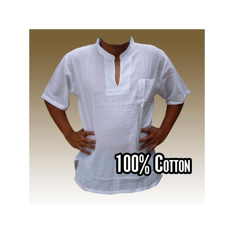 Razia Fashion - leichtes Thai Baumwollhemd weiß Größe XL