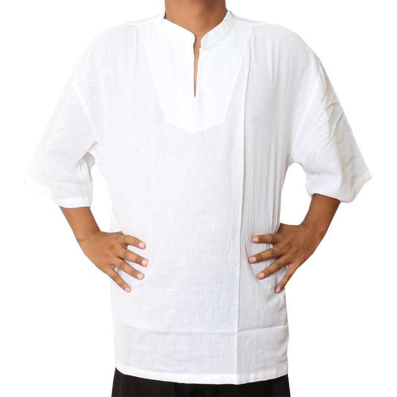 Razia Moda - Fácil camisa de algodón tailandés tamaño XXXL blanca de manga corta