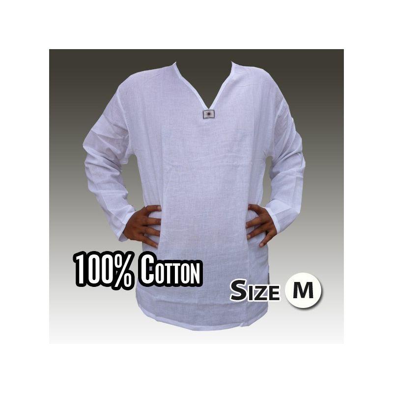 camisa de algodón tailandés blanco tamaño M