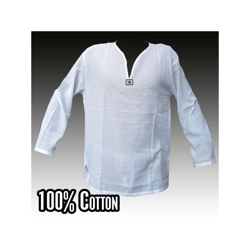 camisa de algodón blanco tailandés talla L