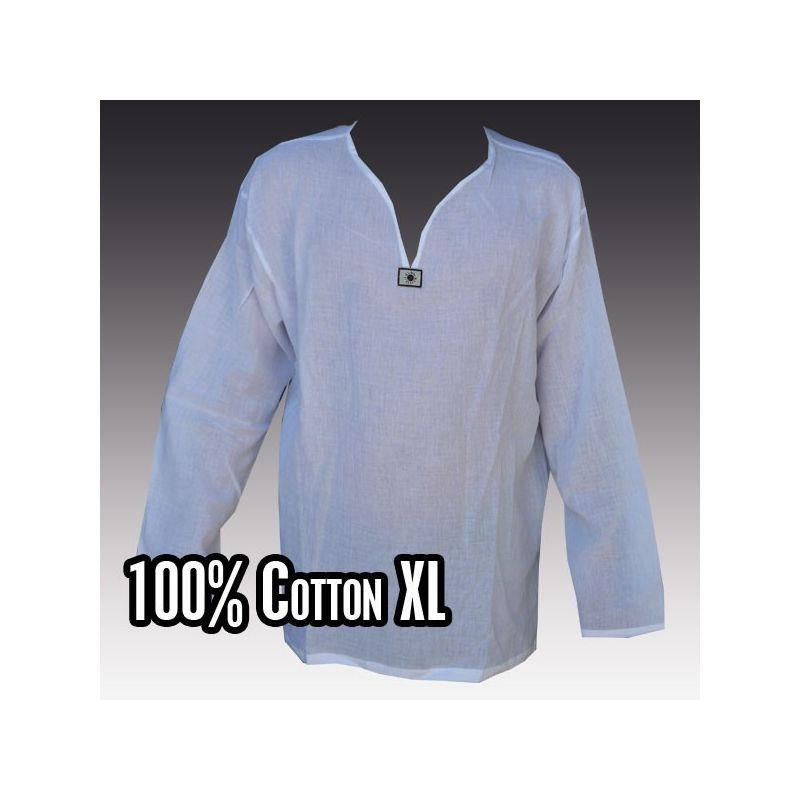 Thai Hemd aus Baumwolle weiß Größe XXXL