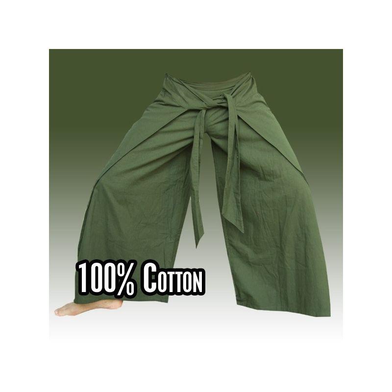 Thai pantalones estilo chino verde oscuro