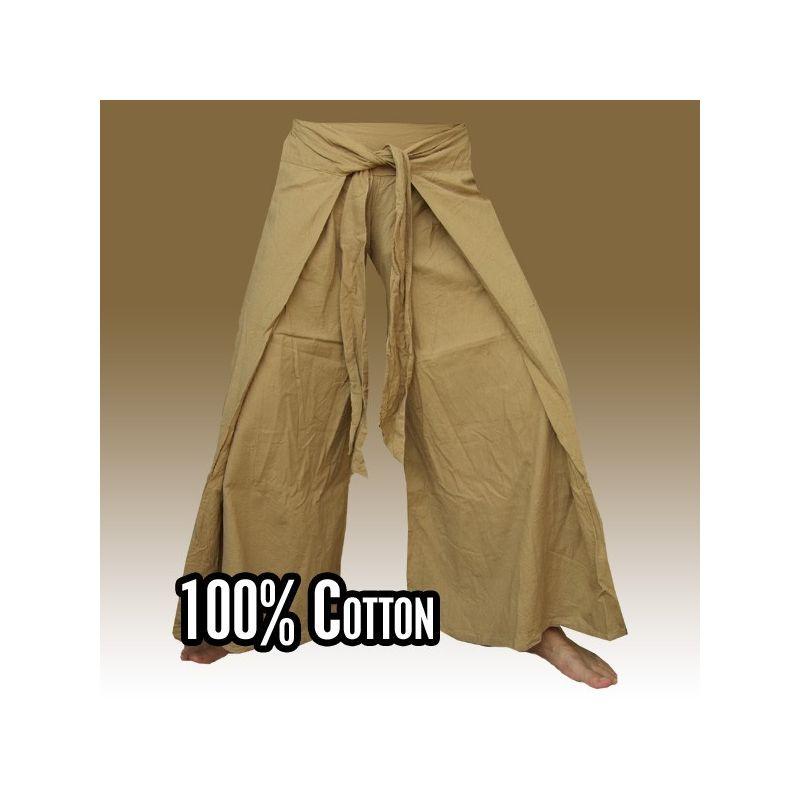 Envuelva los pantalones en el estilo chino, color marrón claro