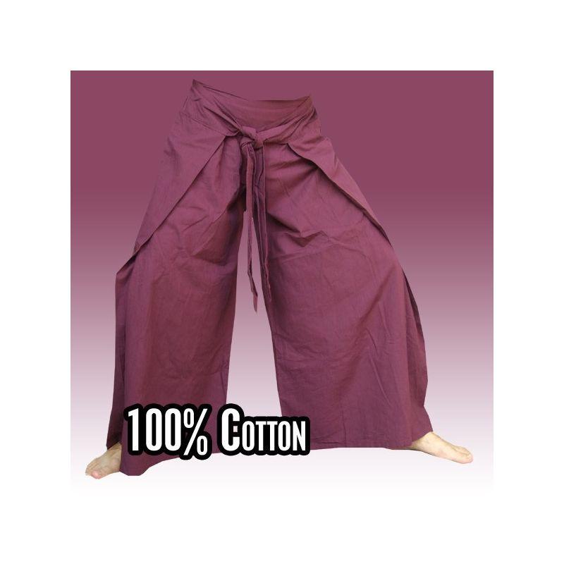 Pantalones de pescador tailandés en estilo chino, magenta