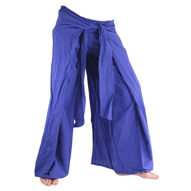 Envuelva pantalones en el estilo chino, azul