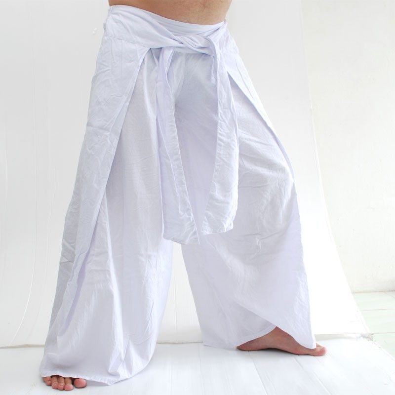 Tailandés Pantalón estilo chino blanco