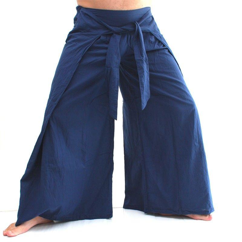 Envuelva los pantalones en el estilo chino, azul