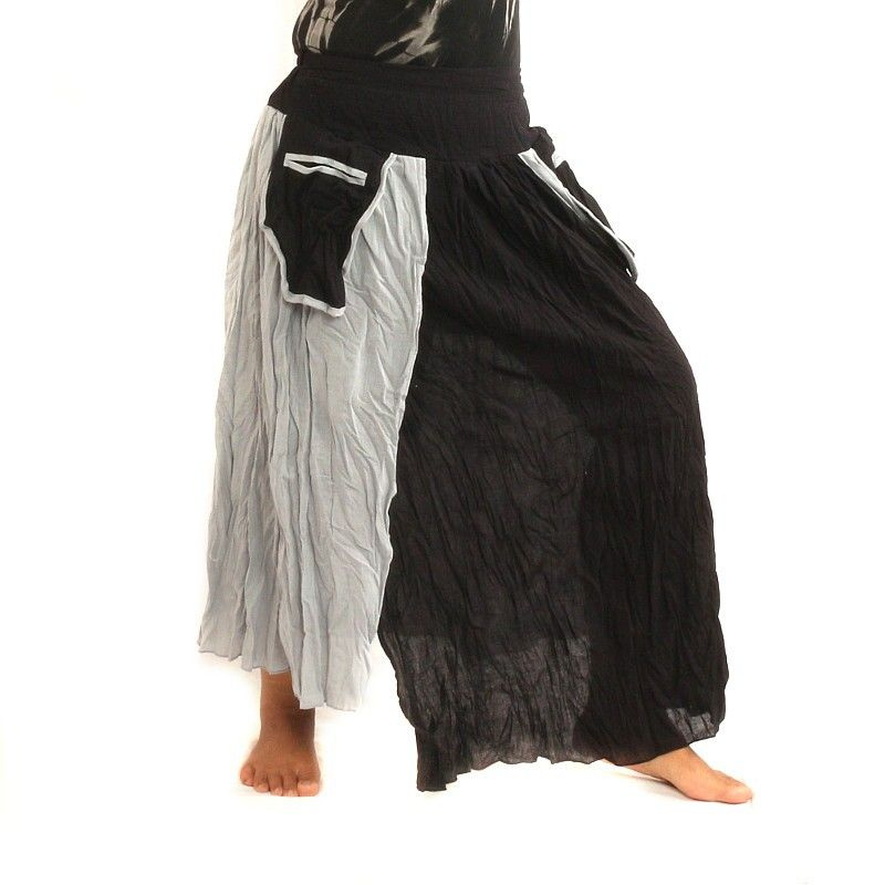 Falda de diseño de las arrugas - dos capas con bolsillos laterales