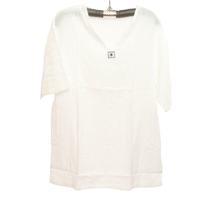 Razia Moda - Fácil camisa de algodón tailandés blanco tamaño M