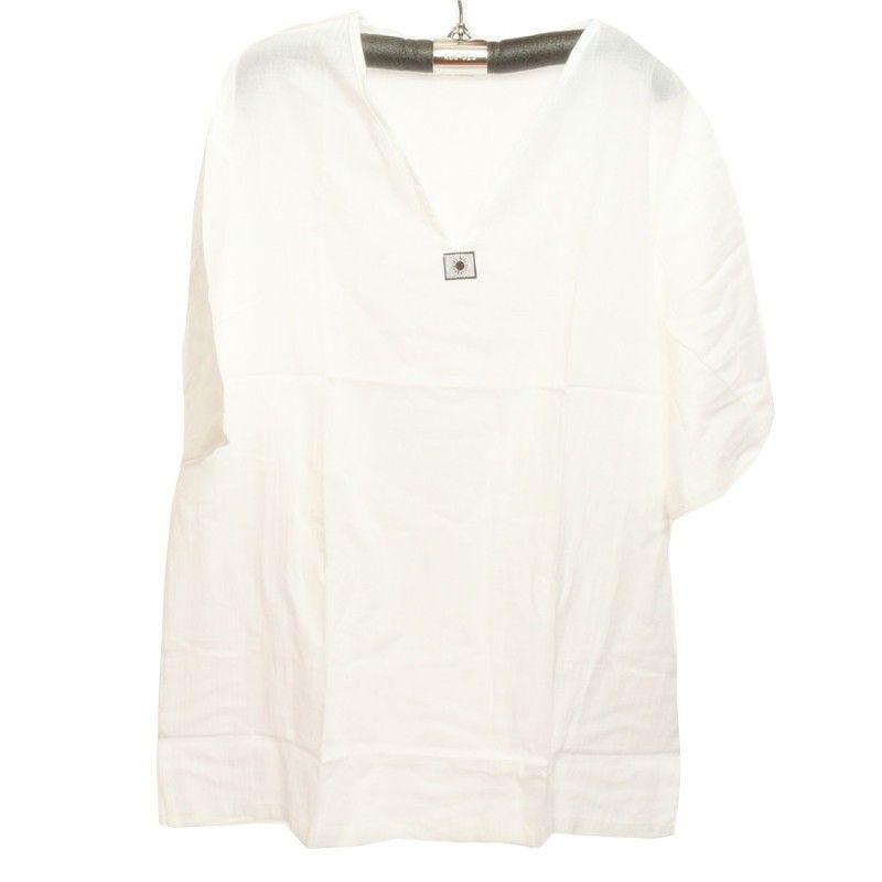 Razia Moda - Fácil camisa de algodón tailandés blanco tamaño XL