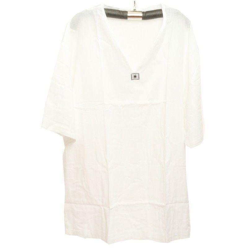 Razia Moda - Fácil camisa de algodón blanco tamaño XXXL tailandesa