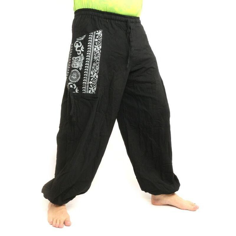 Pantalón hippie tailandés para atar aplicación etno de algodón grueso
