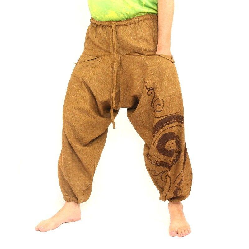 pantalones harén Boho Chic - marrón claro