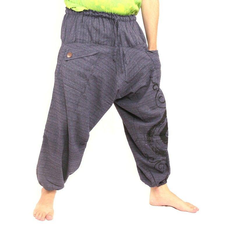 Pantalones harén con estampado espiral / diseño floral antracita