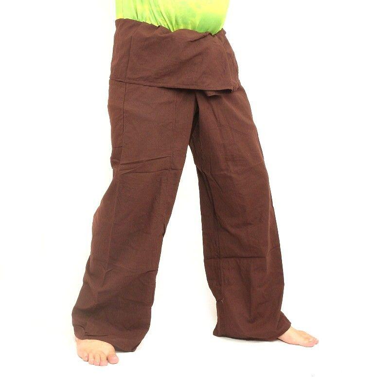 Pantalones pescador - marrón- adicionales pantalones de abrigo largo de algodón