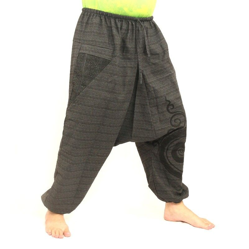 pantalones harén impresa gris de algodón