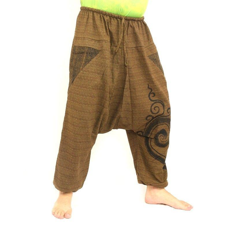 pantalones de harén de algodón marrón impresos