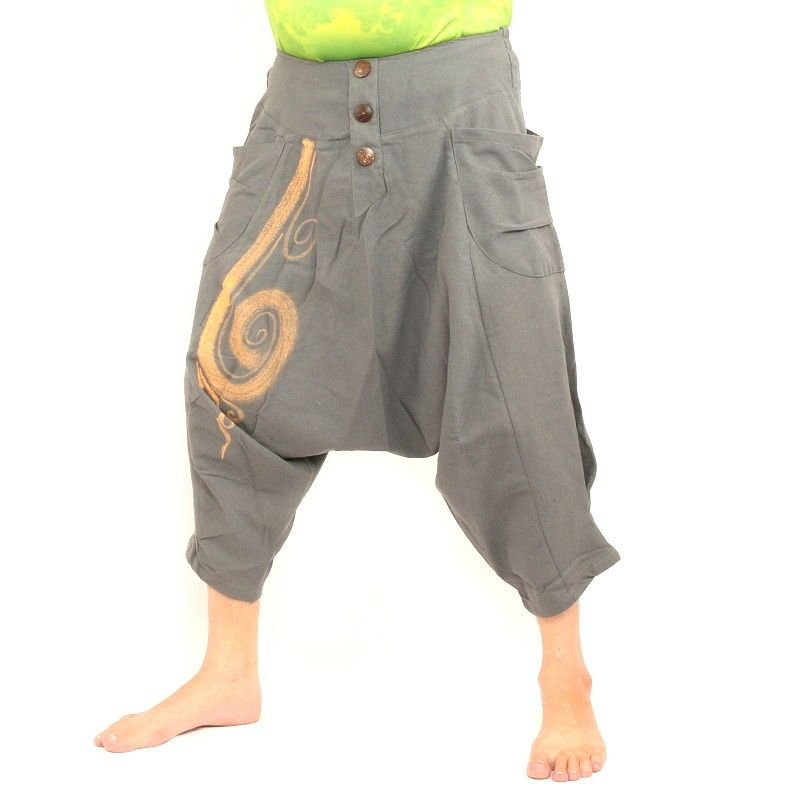 3/5 pantalones de harén con forma de remolino de algodón gris