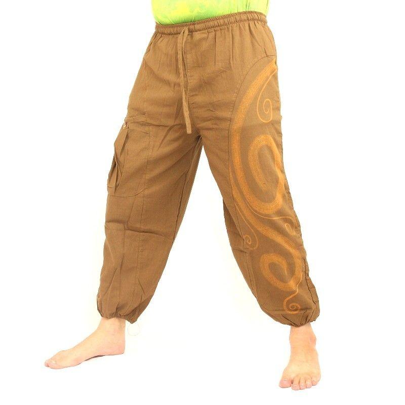 pantalones harén impresos de color beige