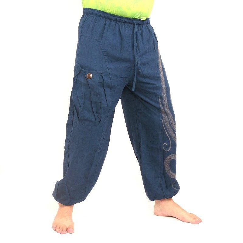 pantalones harén impresos azul
