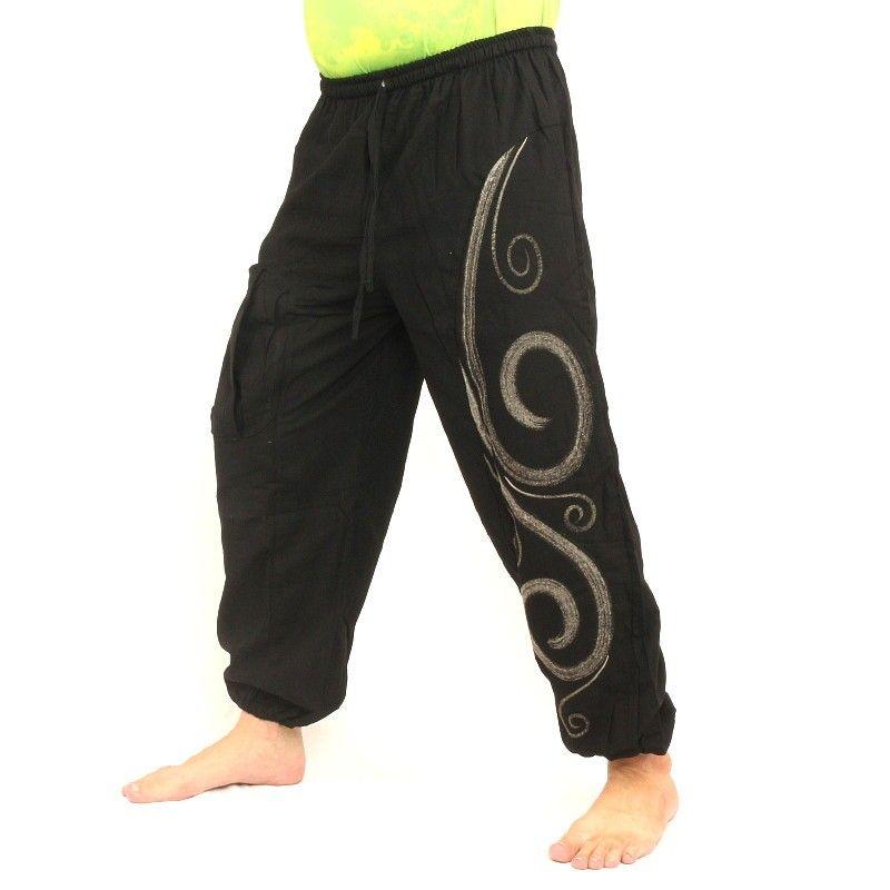 pantalones harén imprimen negro