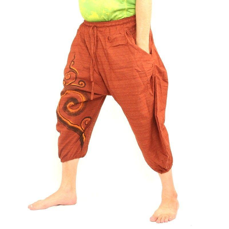 3/5 pantalones de harén naranja