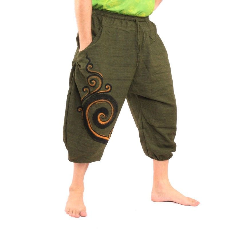 3/5 harem pants olive green