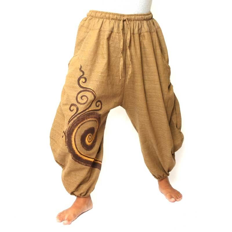 3/5 Saruel pants with large side pockets made of heavy cotton