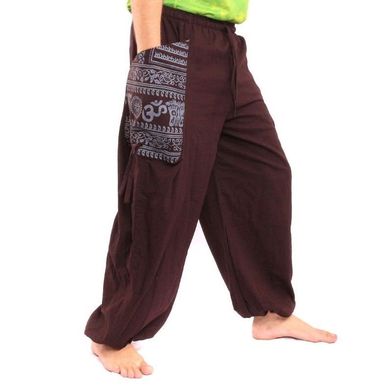 Thai Trousers Om Goa Floral print made of heavy cotton dark brown