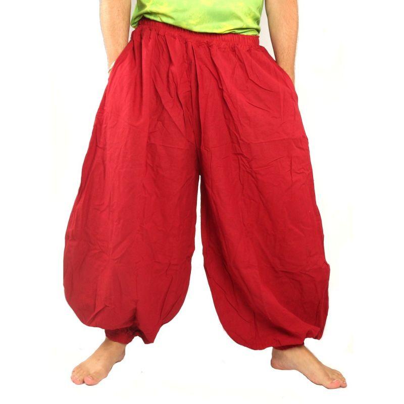 pantalones de harén de algodón de color rojo