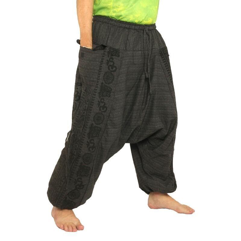 Haremshose Baggy Pants Floral Design Aufdruck - schwarz