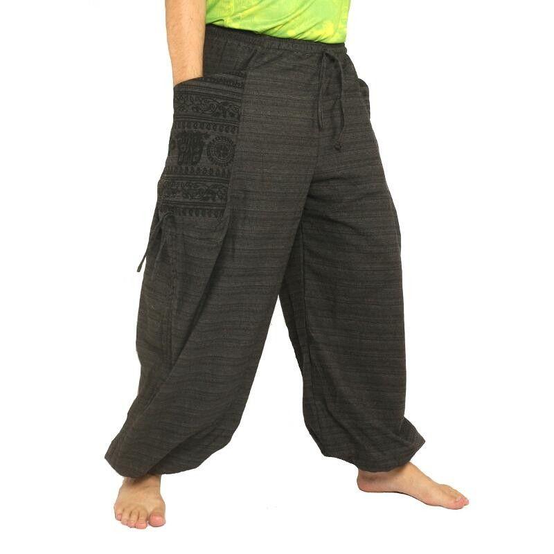 pantalones harén presión étnico, con grandes bolsillos laterales negras
