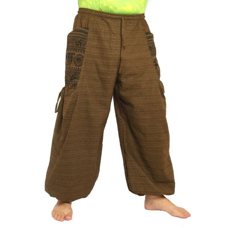 pantalones harén presión étnico, con grandes bolsillos laterales marrones
