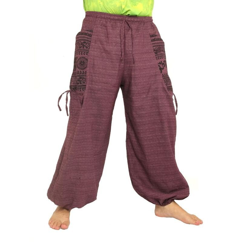 pantalones harén presión étnico, con grandes bolsillos laterales de color púrpura