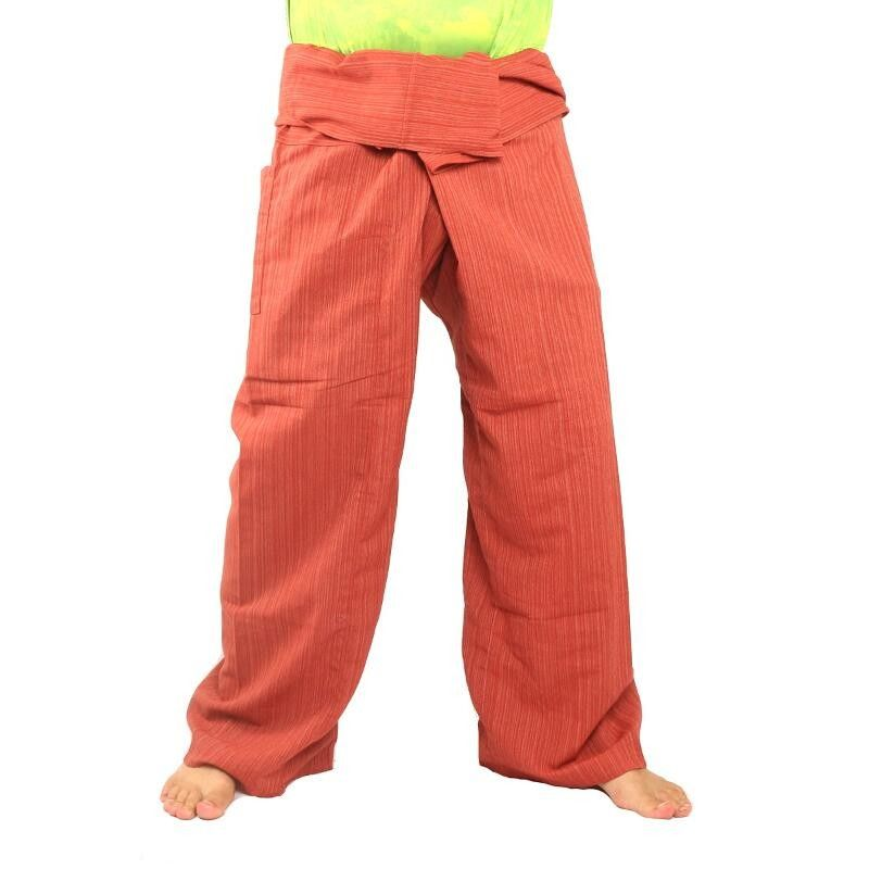 Thai Fisherman Pants Cottonmix extra lang - rotbraun
