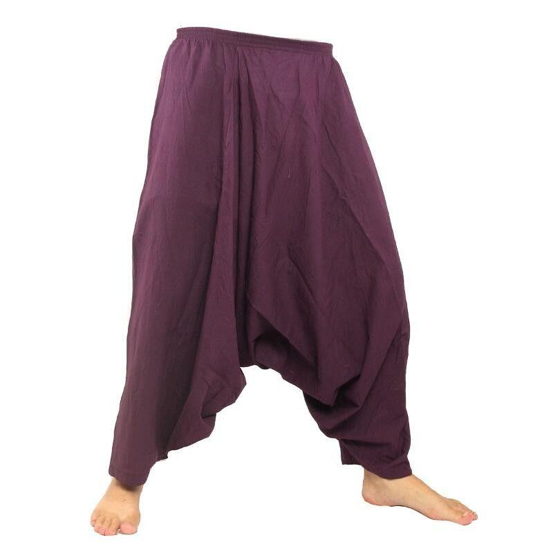 Harem pantalones de algodón - púrpura