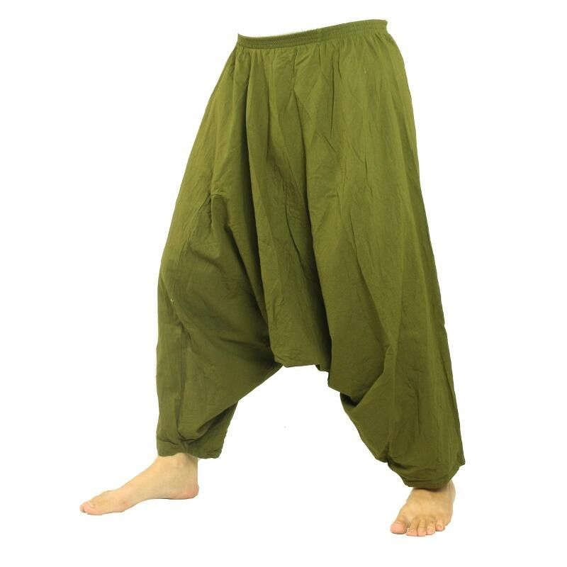 Pantalones harem pantalones holgados de algodón verde