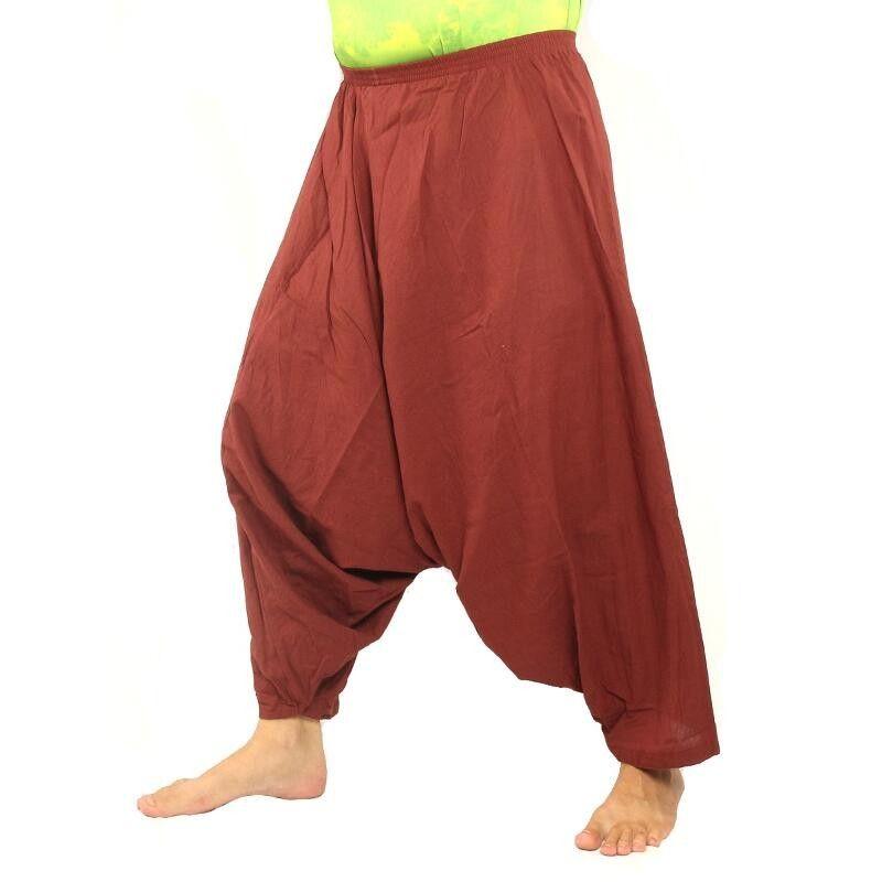 pantalones de harén de algodón de color granate