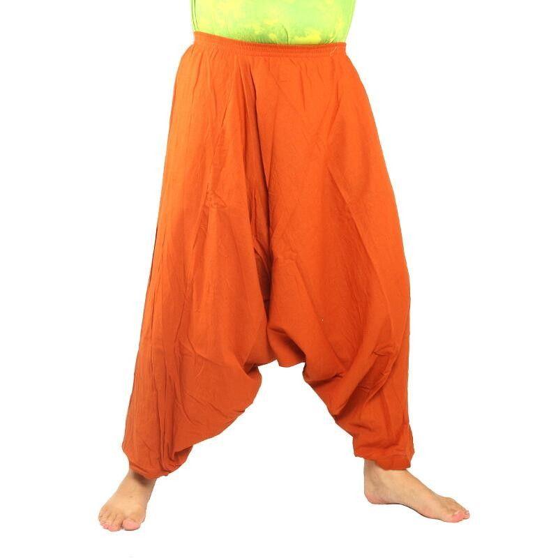 pantalones de harén de algodón naranja
