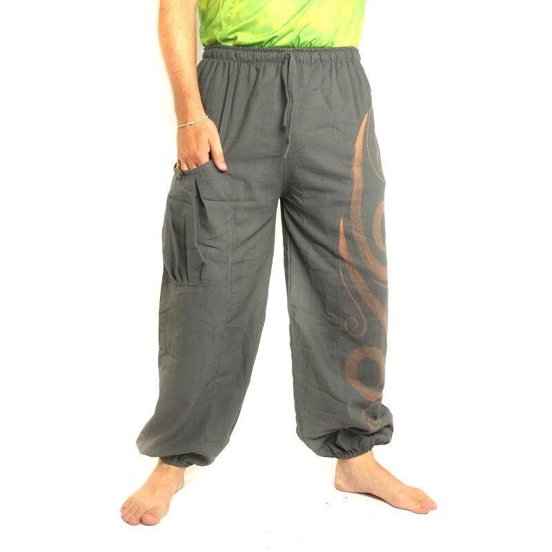 pantalones de harén con diseño impreso floral - gris