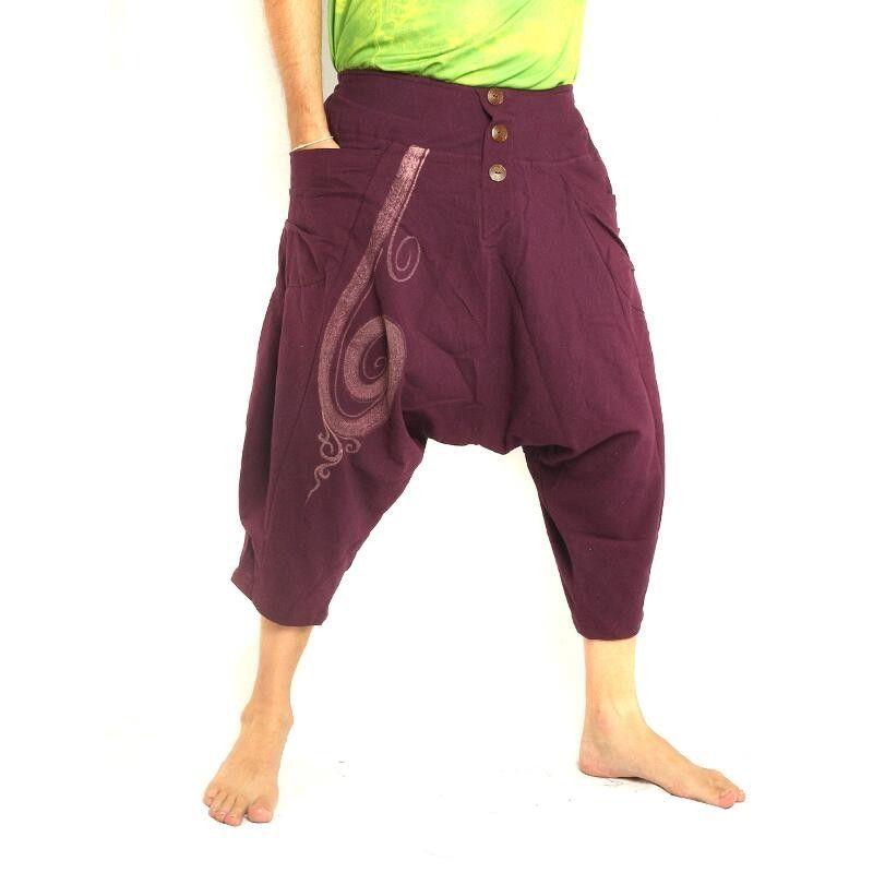 3/5 pantalones de harén con forma de remolino de algodón de color púrpura