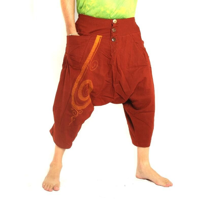 3/5 pantalones de harén con color naranja oscuro de algodón patrón de remolino