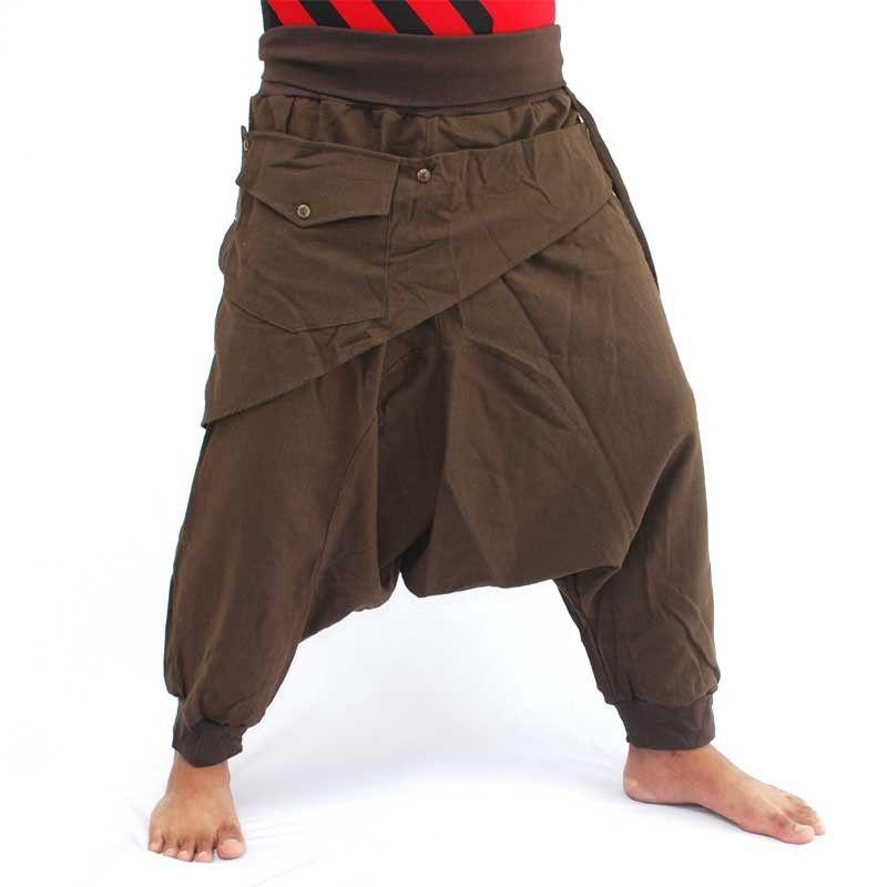 3/5 Aladinhose - braun mit Stoff-Zierapplikation und Tasche