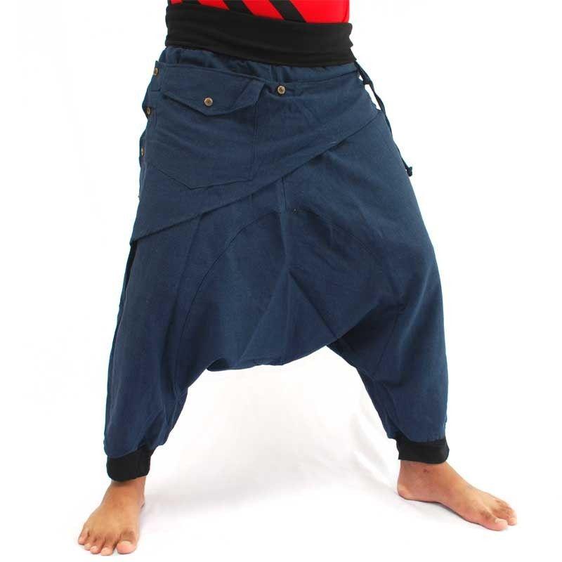 3/5 Aladinhose - blau mit Stoff Zier Applikation und Tasche