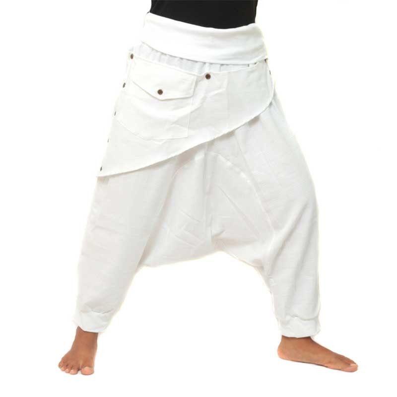 3/5 Aladinhose - weiß mit Stoff Zier Applikation und Tasche
