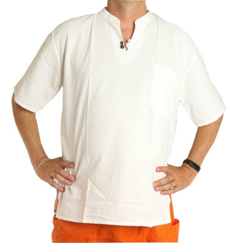 camisa de algodón blanco tailandés de comercio justo Talla XL