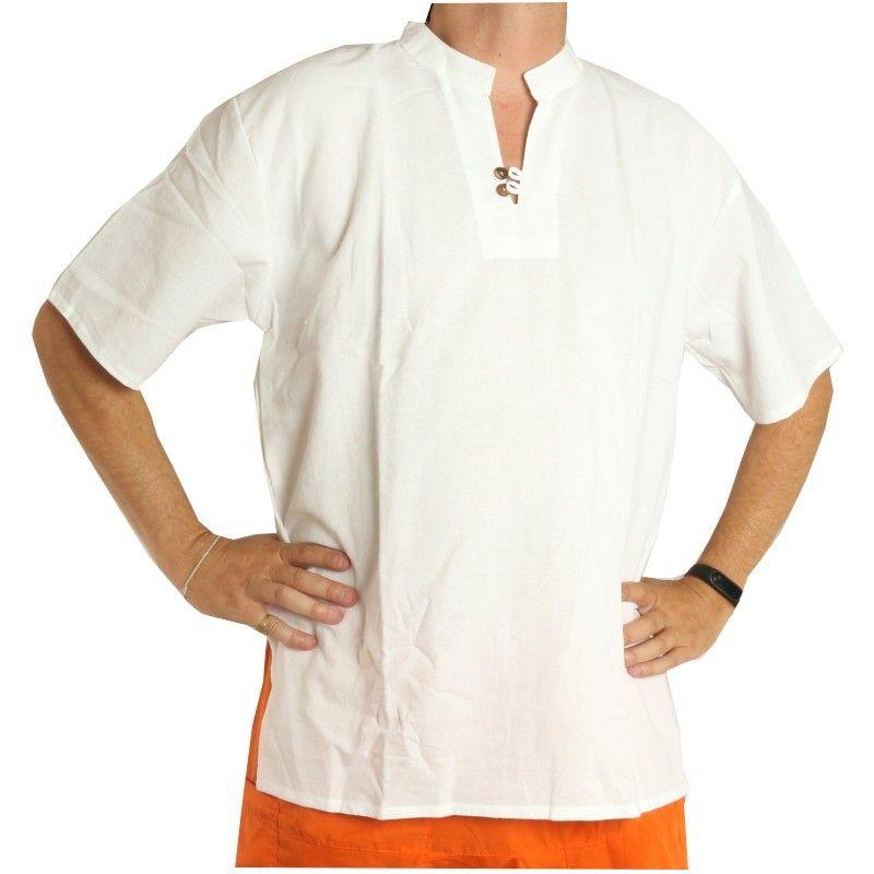 Thai Baumwollhemd weiß fairtrade Size XXL